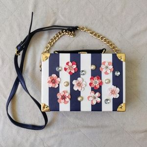 Aldo Floral Detail Clasp Box Mini Purse Striped
